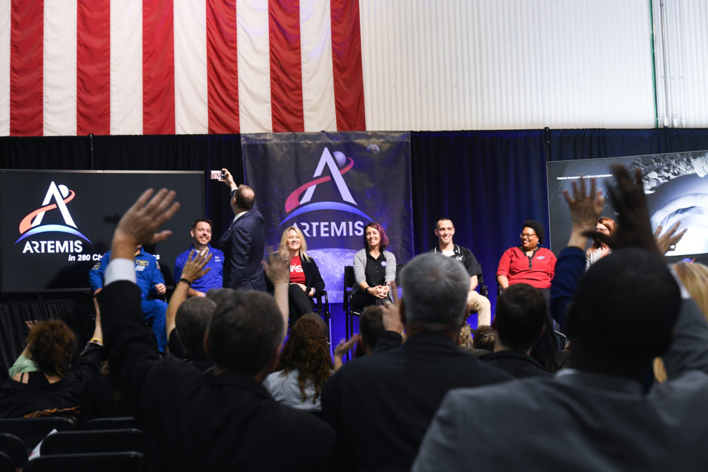 December 2019 - Panel at Artemis Day answers crowd questions about the new space program.