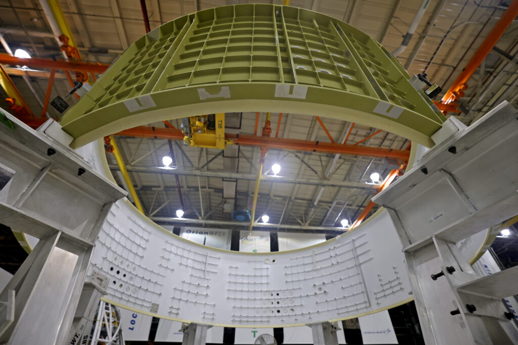December 2020  - The barrel portion of the explorer module for Artemis III is unpacked in the Lockheed-Martin section of Building 103 at NASA Michoud on Monday, December 14, 2020.