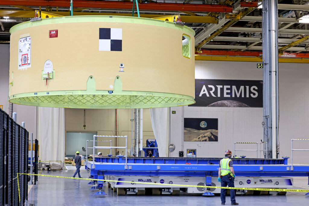 February 2021 - The Artemis II Forward Skirt is lifted and moved inside building 103 at Michoud Assembly Facility on Friday, February 19, 2021.