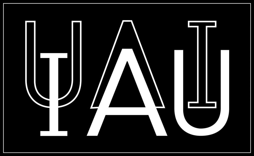 This is the official IAU logo to be used on dark backgrounds. Please note that the IAU's logo is protected and may not be used or reproduced without the prior and individual written consent of IAU.