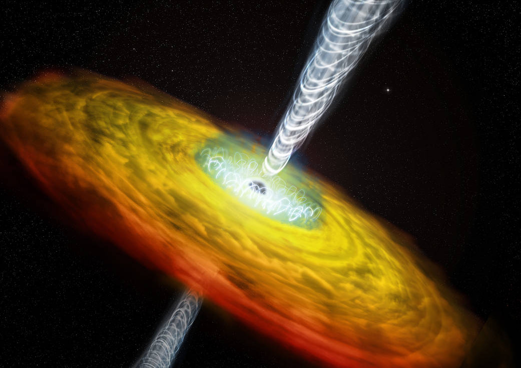 Quasar with jet and magnetic lines. Credit: CXC/M.Weiss