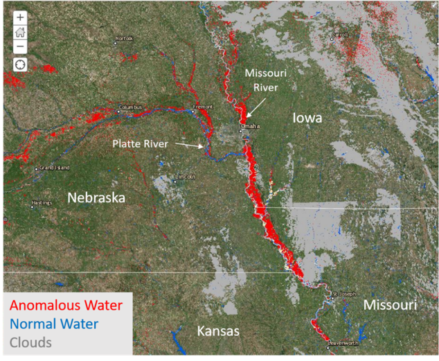 MSFC derived water extents across Midwest from Sentinel Satellites